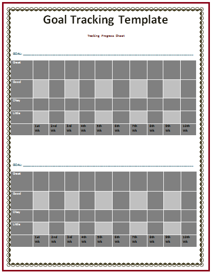 goal tracking template