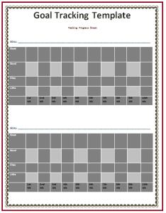goal tracking worksheet template