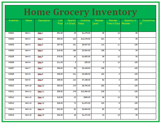 Home Inventory Template - By Wordstemplates.orgFree Word Templates