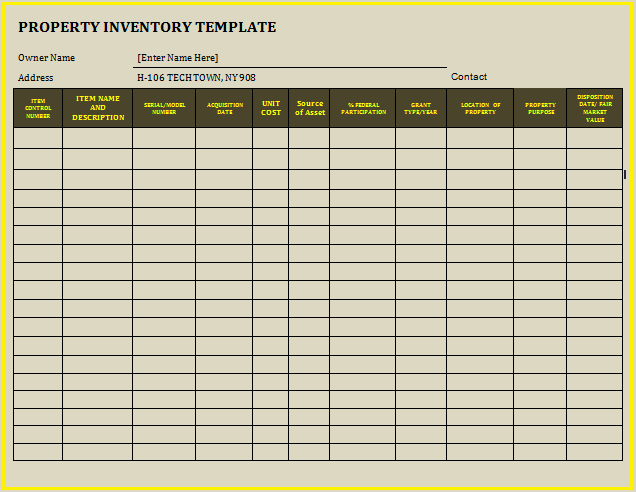 12 property inventory templates free word templates for Inventory for rental property template