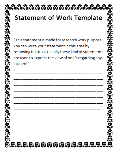 6 statement of work done templates free word templates for How to write a statement of work template