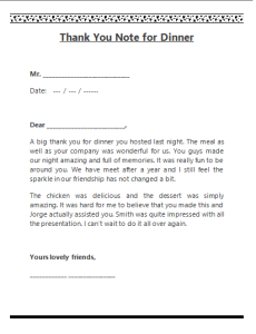 Thank you note template For Dinner