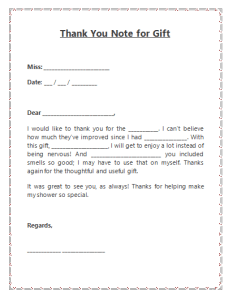 Thank you note template For Gift