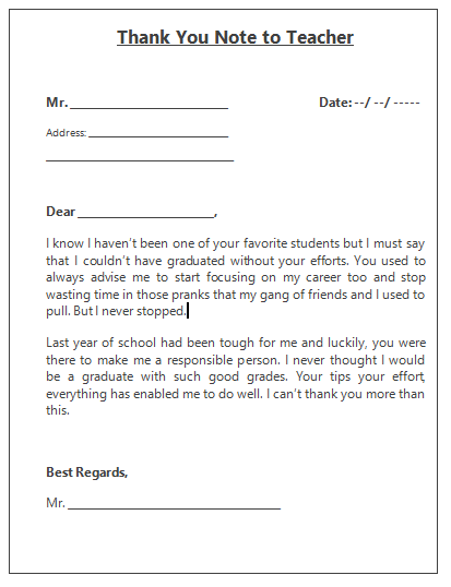 Thank You Note Template  Thank You Note Template
