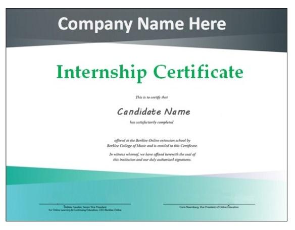 Internship Certificate Template 6
