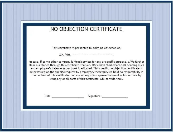 No Objection Certificate Template  Noc Certificate Format