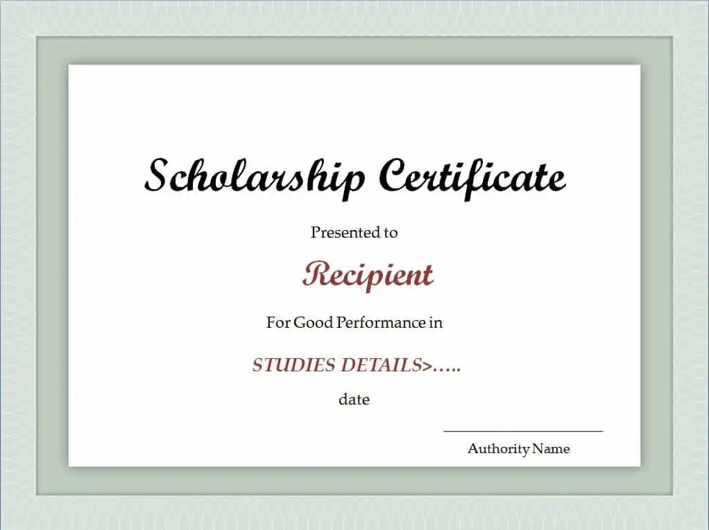 Scholarship Template. certificate excel xlts. recommendation letter ...