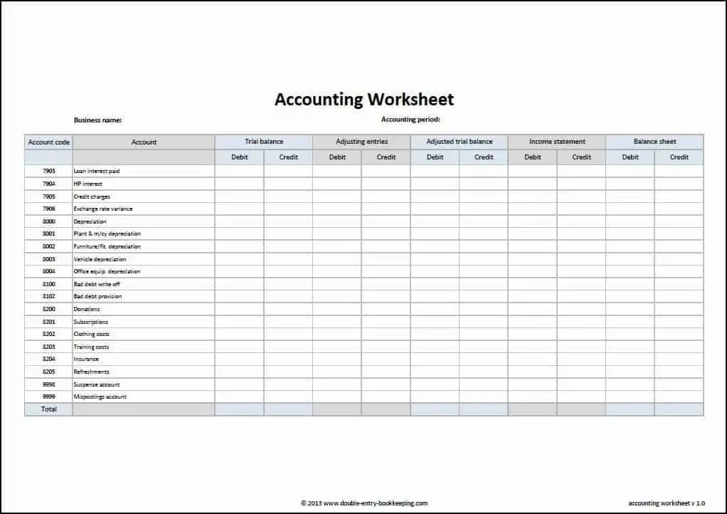 bookkeeping template