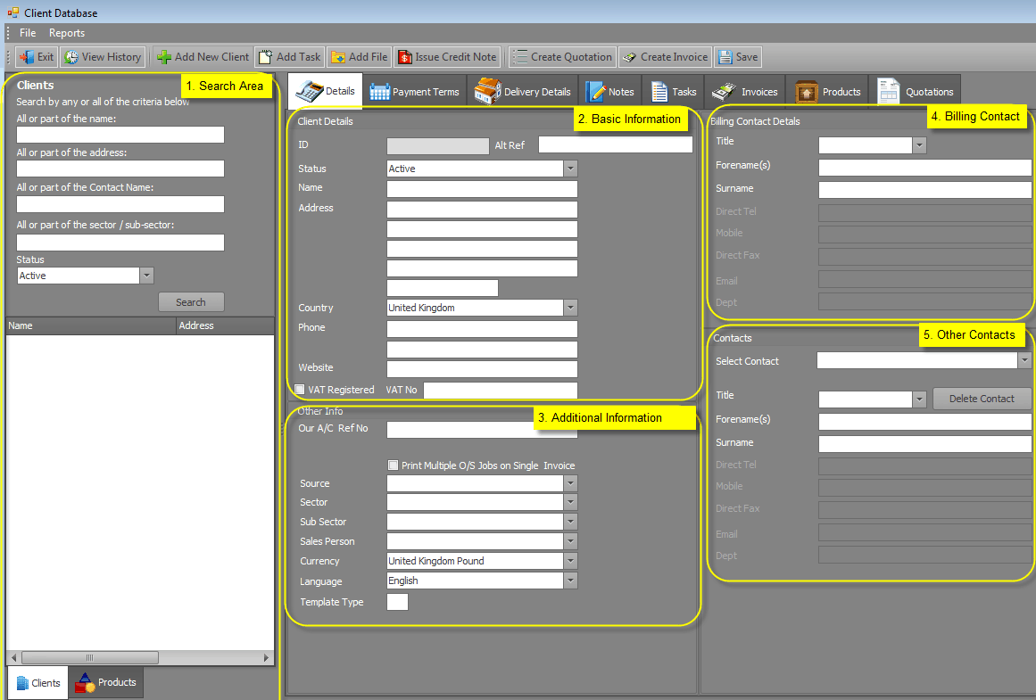 excel client database template