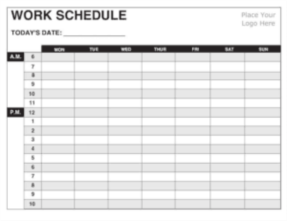 5 daily work schedule templates excel excel xlts