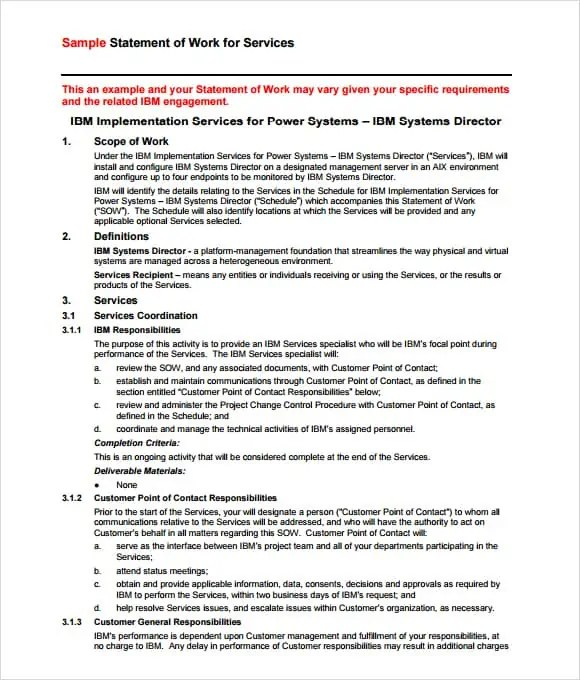 statement of work template 0