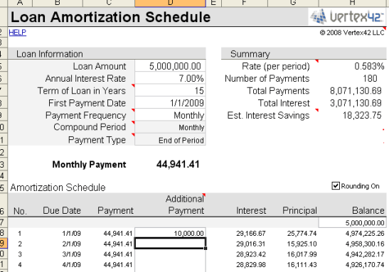 amortization schedule template 4
