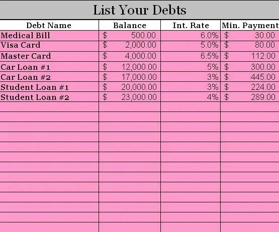 debt calculator excel template 4