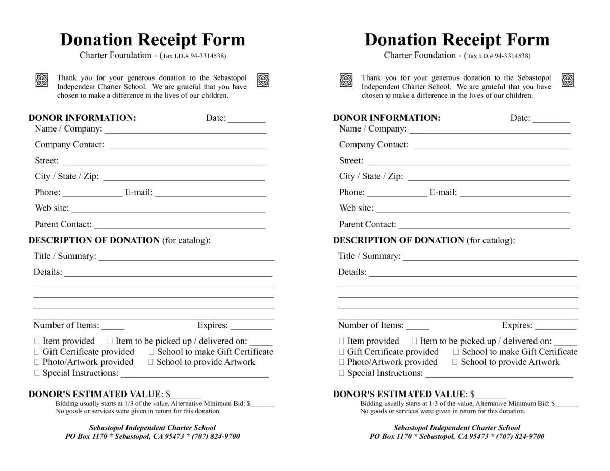 4 Donation Receipt Templates