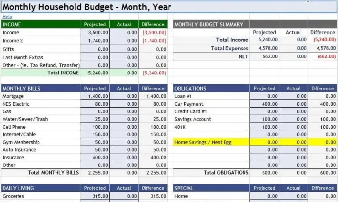 household budget spreadsheet tempalte 1
