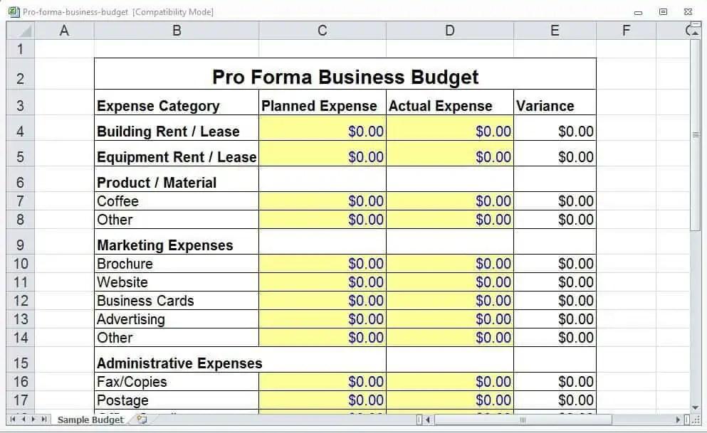 pro forma budget example koni polycode co