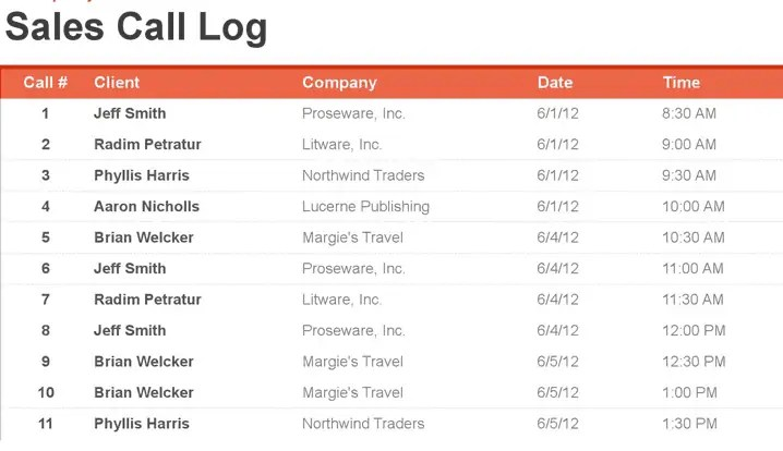 sales call log template preview 1