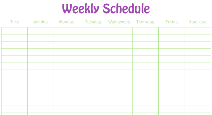 weekly schedule template 3
