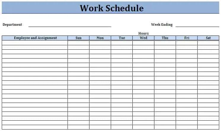 Work Schedule Templates Excel. daily work schedule template 12 ...