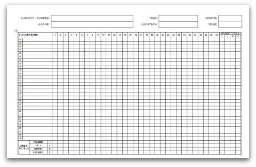 5 monthly attendance sheet templates
