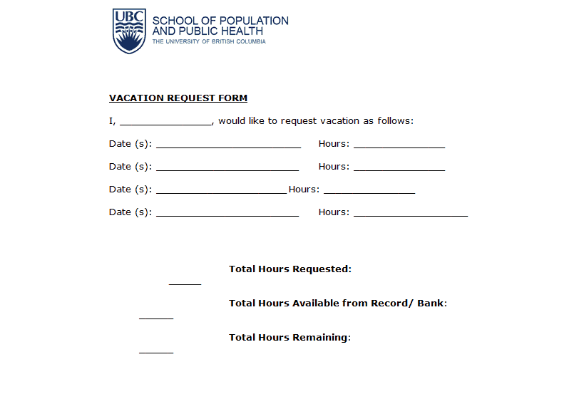 Vacation Request Form MS Word