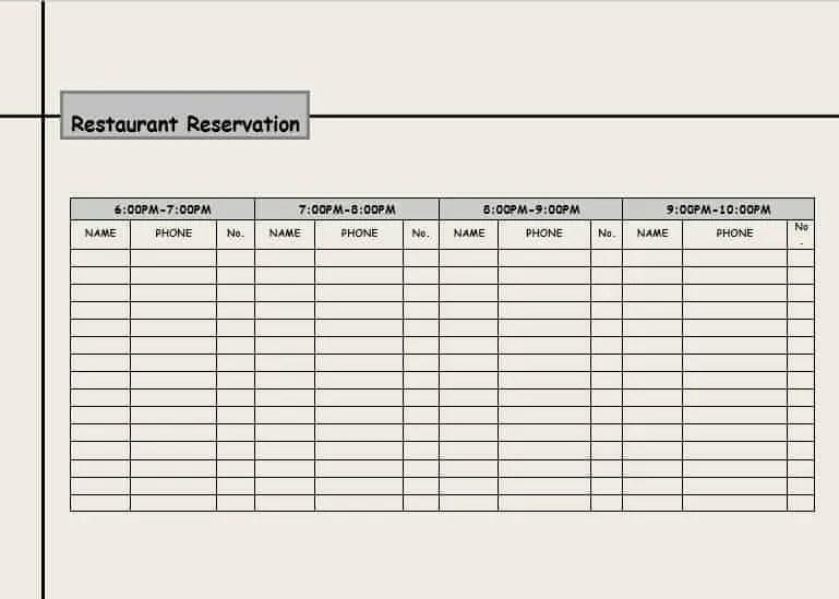 3 Restaurant Reservation Log Templates Word Excel Formats
