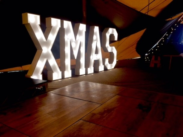 XMAS letter lights in a marquee