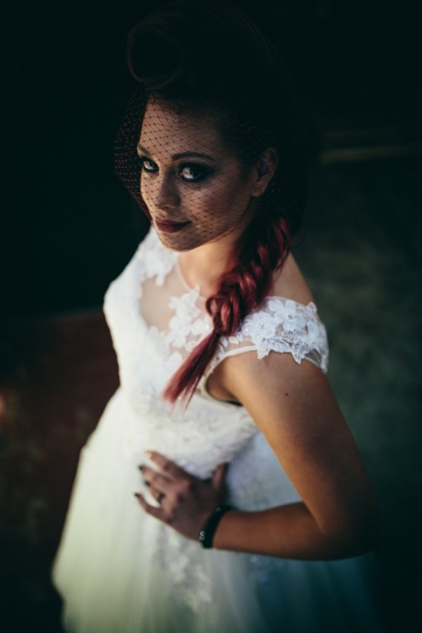 Model showcasing gorgeous bridal hair and bridal gown