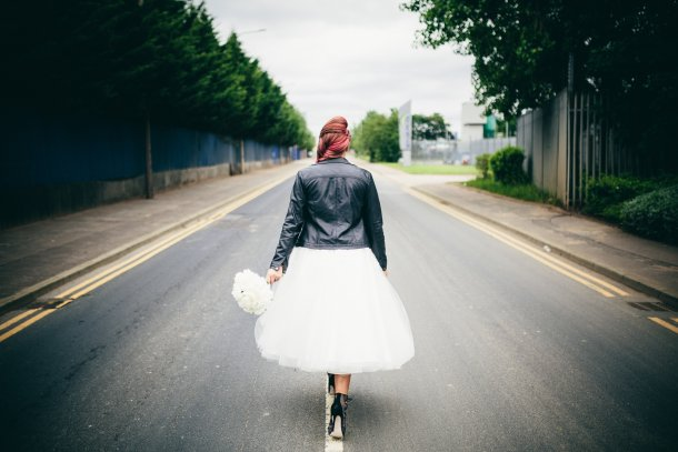 Rock Inspired Wedding Photo Shoot with model in leather biker jacket