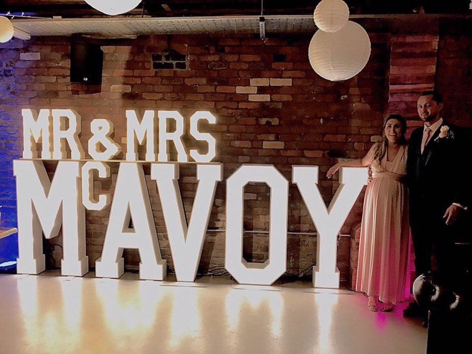 Mr & Mrs MCAVOY marquee letters