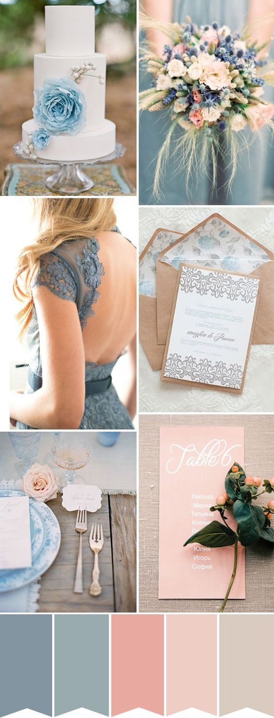 Dusty Blue and Coral Peach Wedding Colour Palette