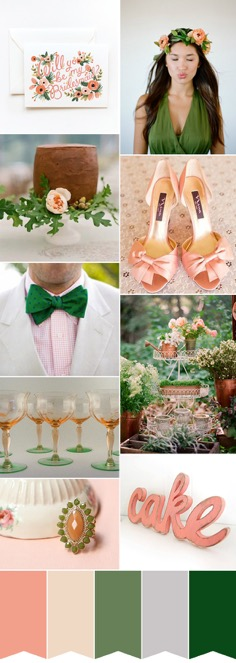 Deep Green and Coral Wedding Colour Palette