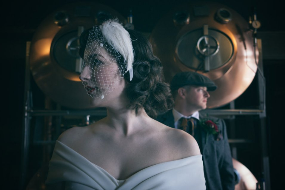 Bride and groom close up image on Peaky Blinders Wedding Shoot