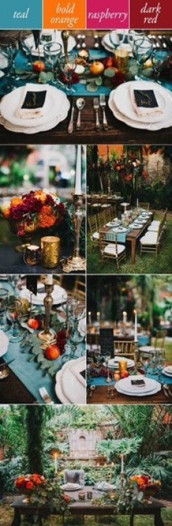 Orange and Teal wedding decor ideas for Autumn