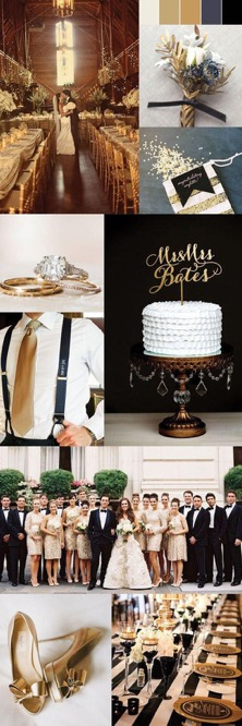The colours Gold and Black team together for a elegant wedding look