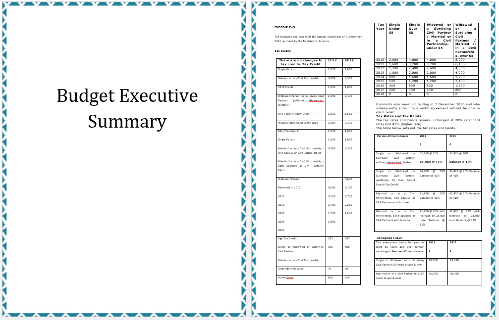 Executive Summary Template Of Annual Budget Planning Word Templates For Free Download