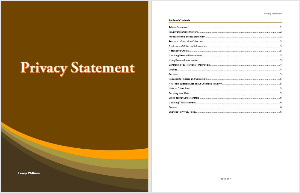 Privacy Statement Template Microsoft Word Templates
