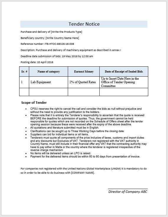 Tender Template  format word microsoft word template report