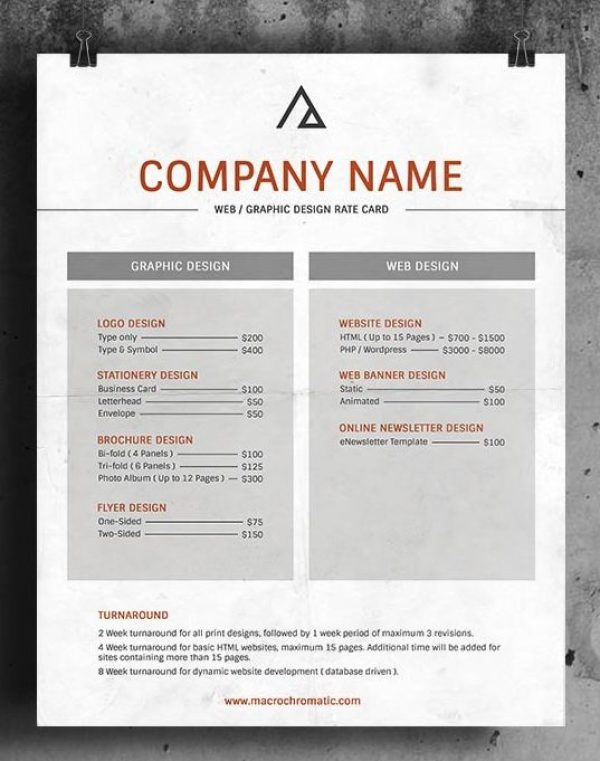 Rate Card Templates  Word Templates Docs