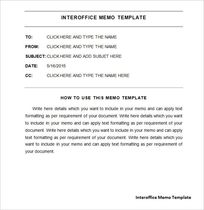 interoffice memo format word