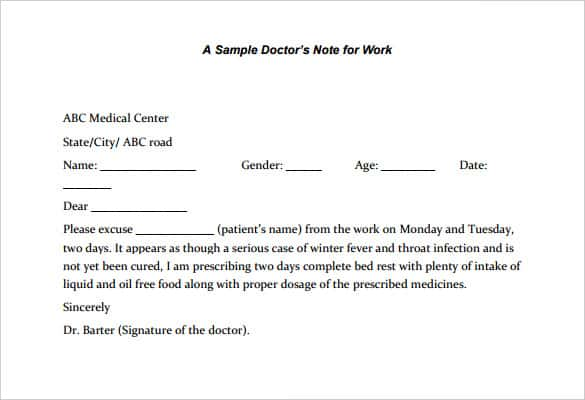 use these printable doctors note for work samples to write one yourself it is also known as fake doctor note template