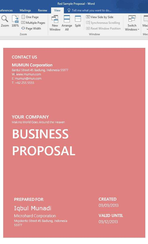 Have A Look At Below Added MS Word Proposal Template Word And Make Your  Proposals Professional In Appearance.