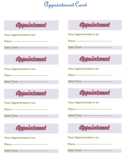 Blank Appointment Card Template Avery