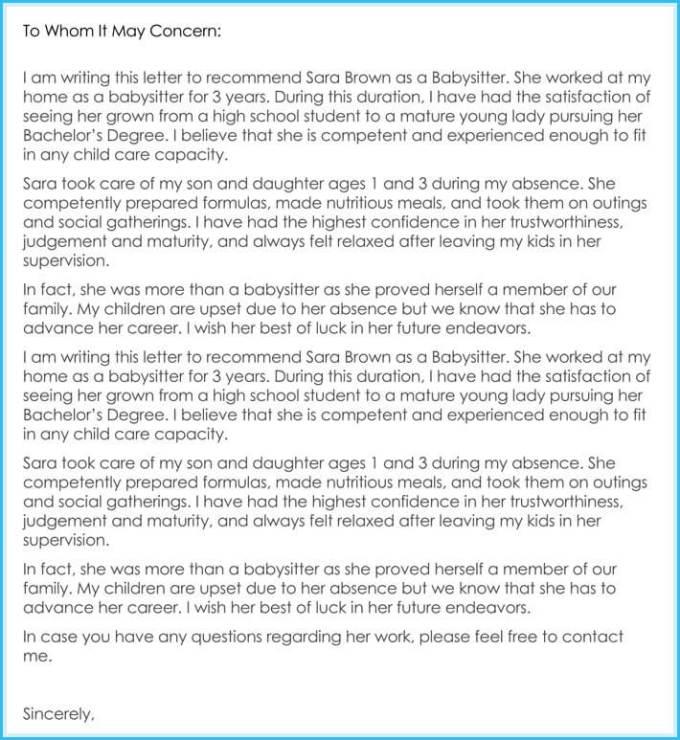 babysitter reference letter reference letter for babysitter hola