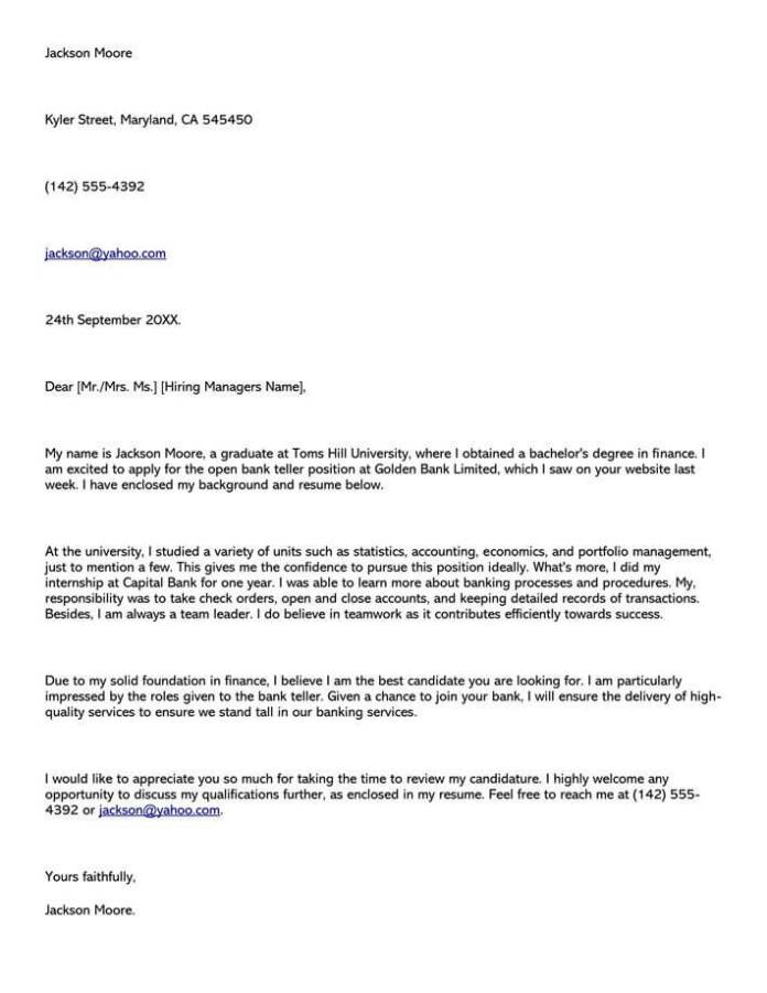 Banking Cover Letter Samples Examples Writing Guidelines