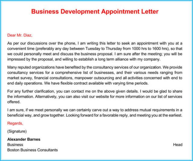 Business Consultant Appointment Letter Sample   Ownerletter co