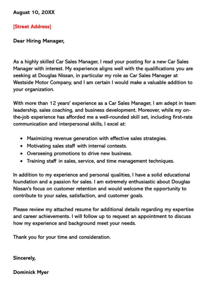 Sales Cover Letter Examples Samples With Writing Tips