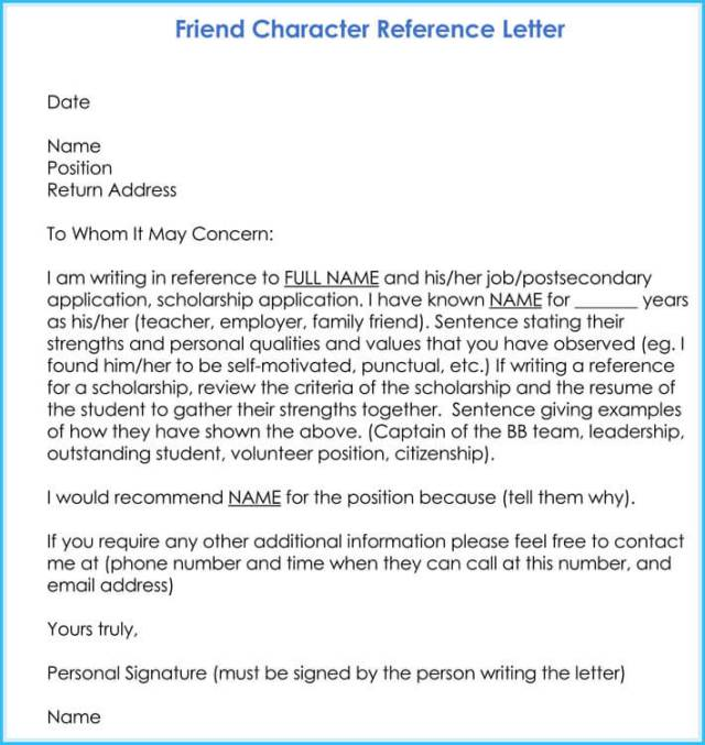 Character Reference Letter 8