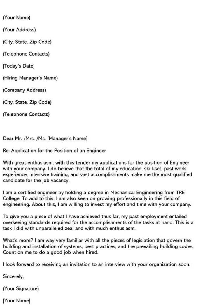 Best Engineering Cover Letter Samples Email Examples