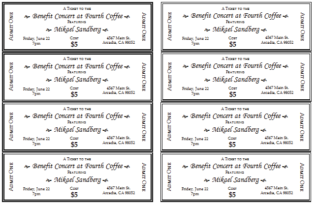 Event Tickets Template. 4 microsoft word ticket templates word ...